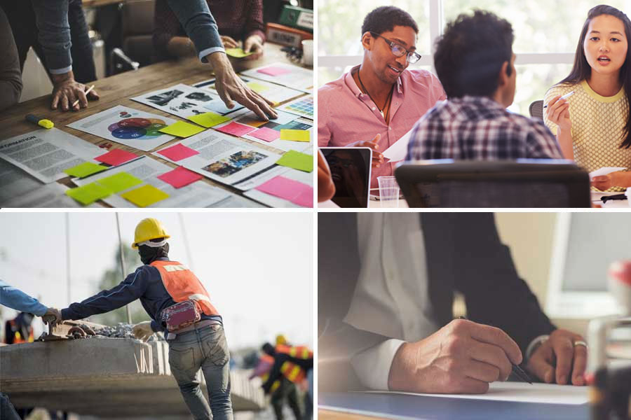 Collage of four photos showing different industries that Value Management Resources serves, including construction and professional services.